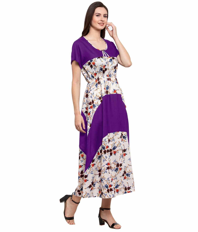 Color Block Slim Fit Maxi Dress Gown in Purple:Cream Print