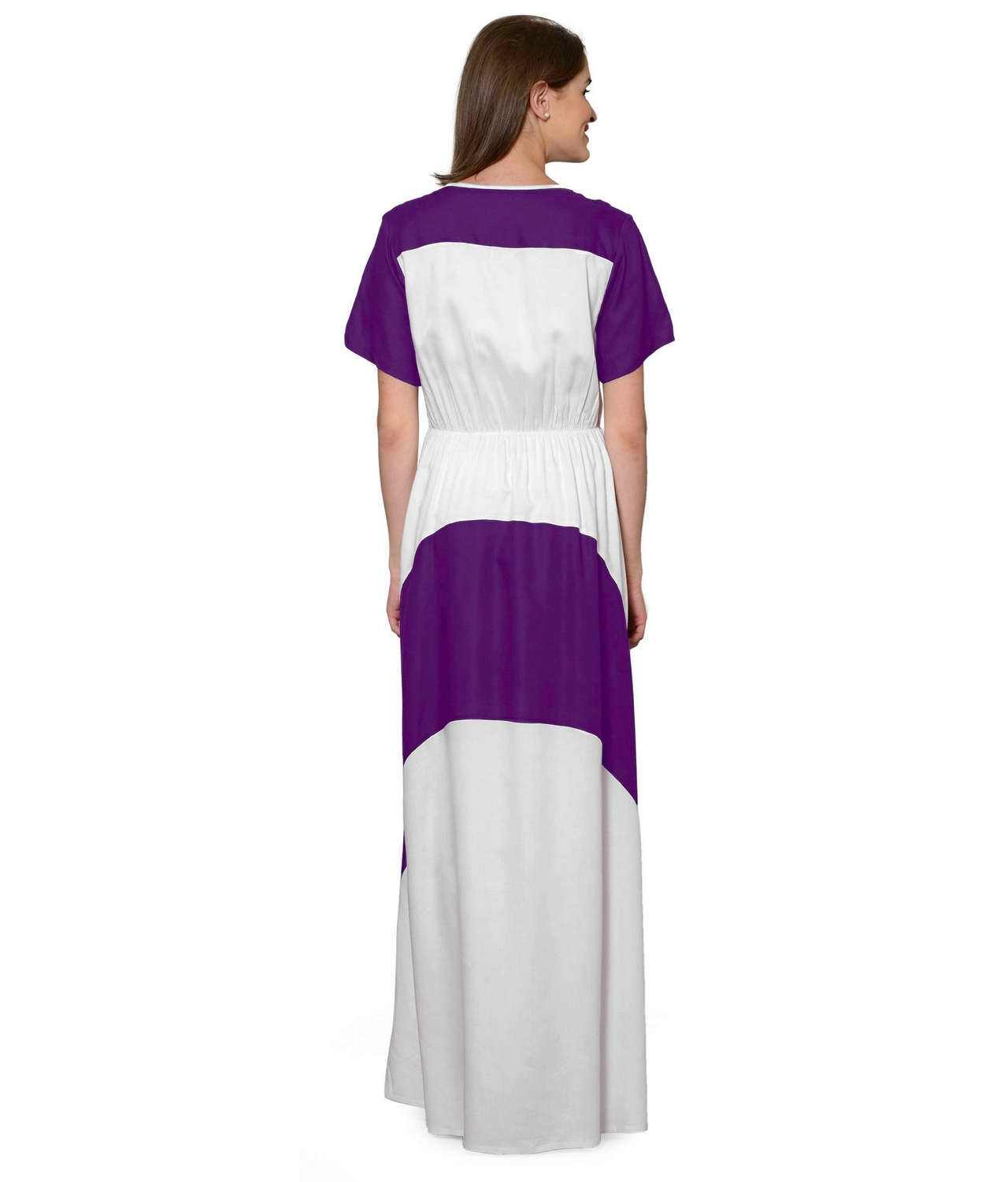 Color Block Slim Fit Maxi Dress Gown in Purple:White