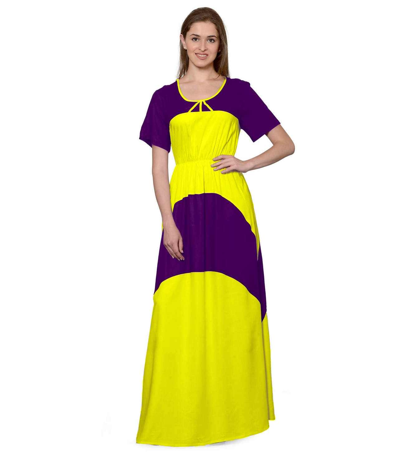 Color Block Slim Fit Maxi Dress Gown in Purple:Yellow