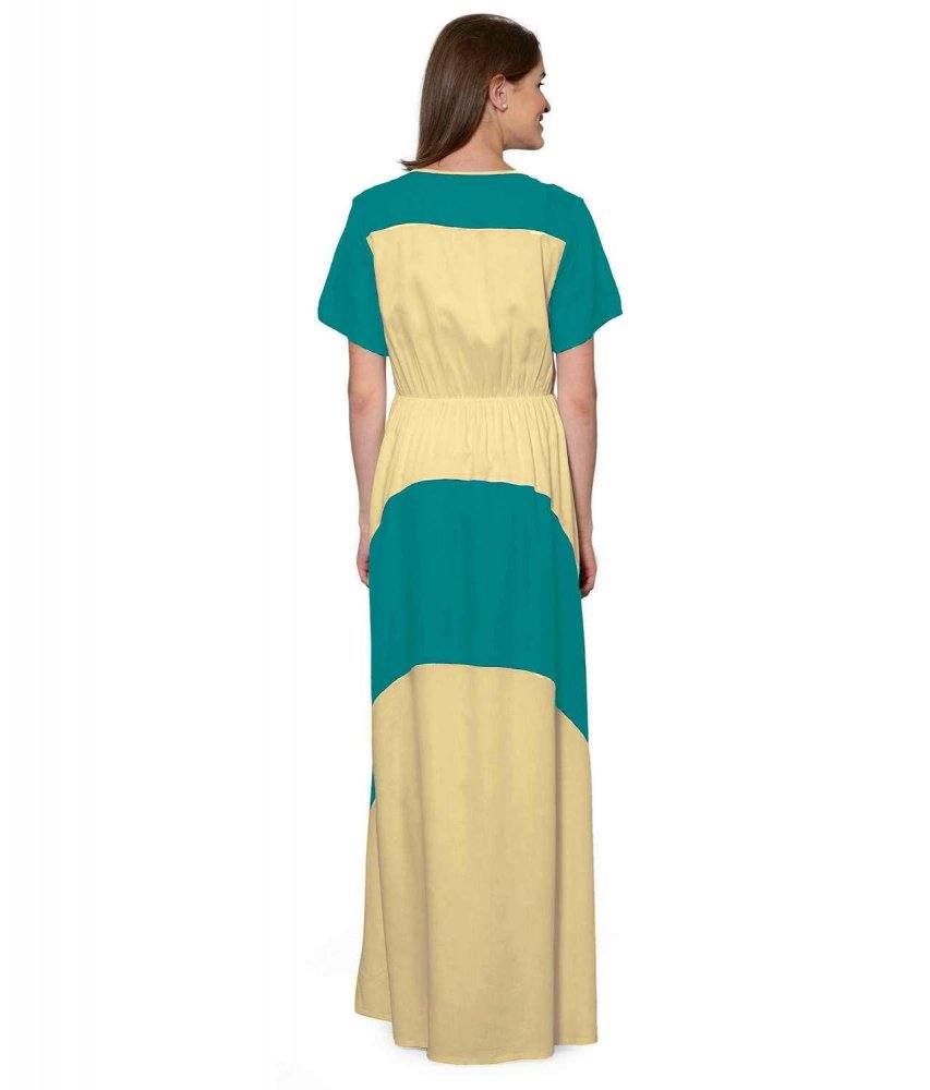 Color Block Slim Fit Maxi Dress Gown in Rama Green:Gold