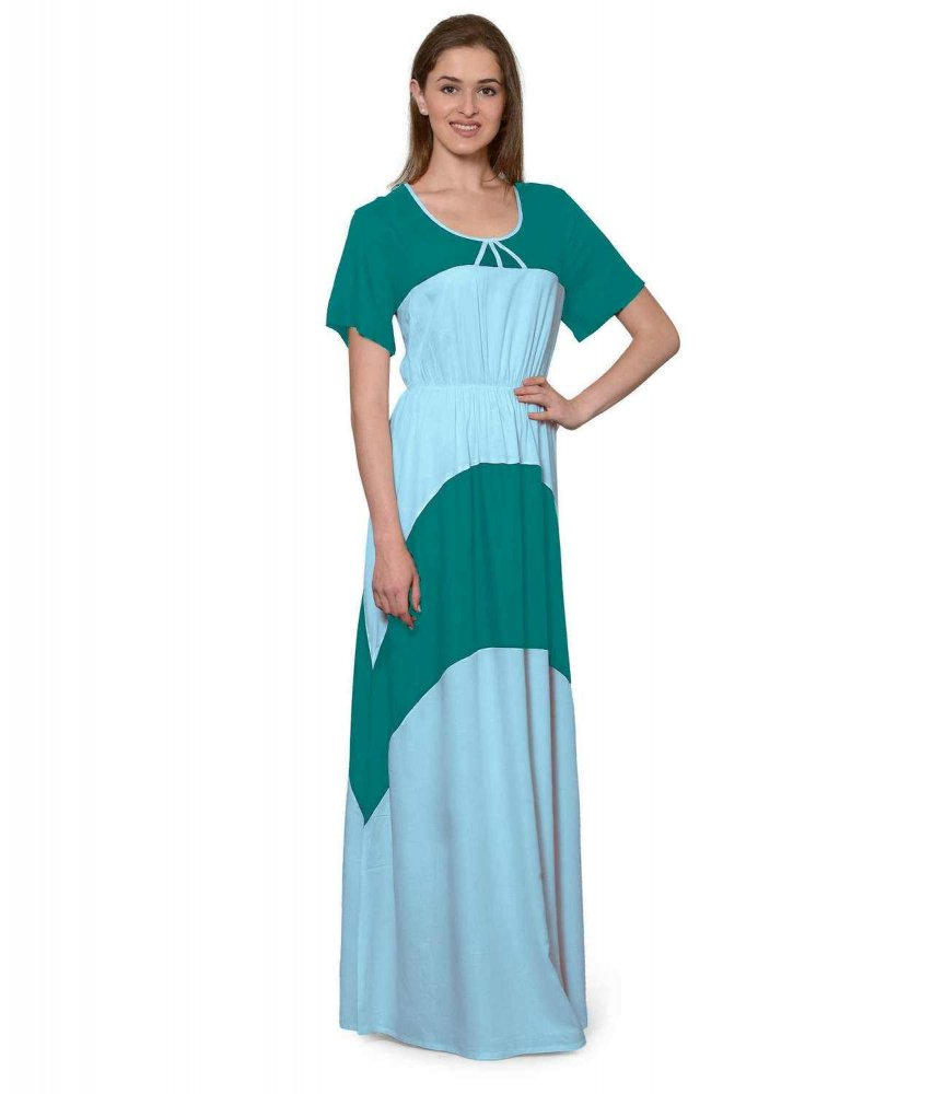 Color Block Slim Fit Maxi Dress Gown in Rama Green:Light Blue