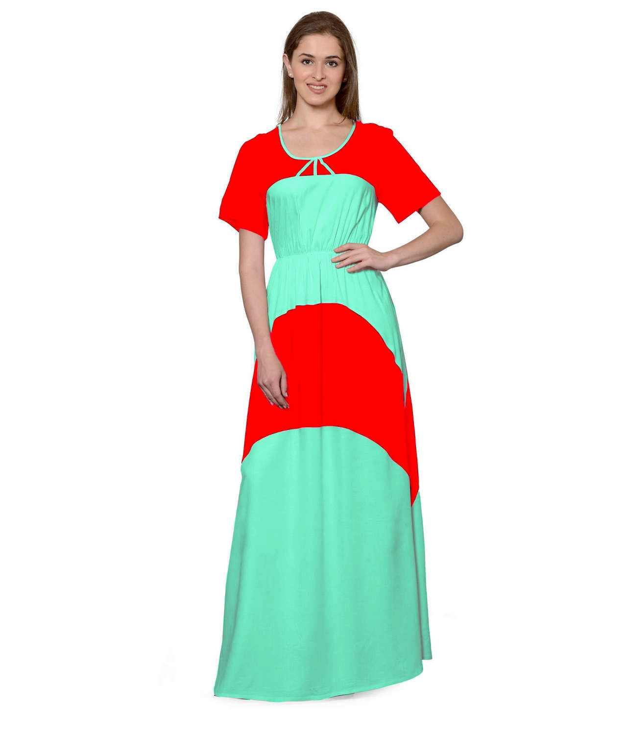 Color Block Slim Fit Maxi Dress Gown in Red:Teal Green
