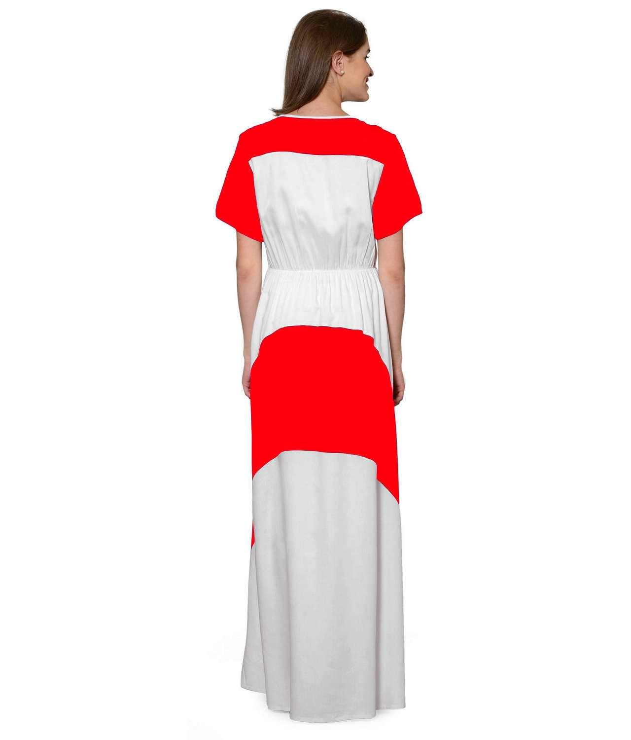Color Block Slim Fit Maxi Dress Gown in Red:White