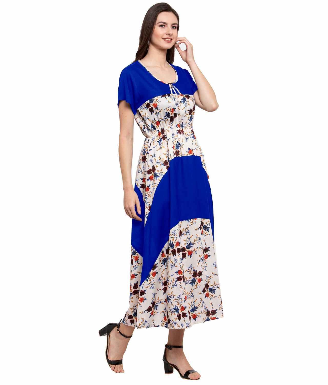 Color Block Slim Fit Maxi Dress Gown in Royal Blue:Cream Print