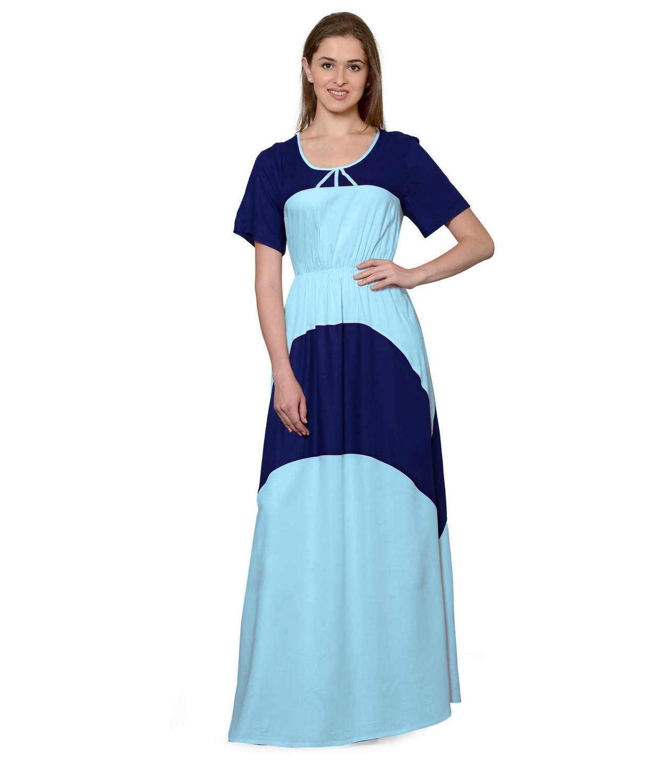 Color Block Slim Fit Maxi Dress Gown in Royal Blue:Light Blue
