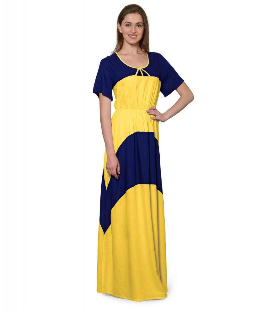 Color Block Slim Fit Maxi Dress Gown in Royal Blue:Mustard