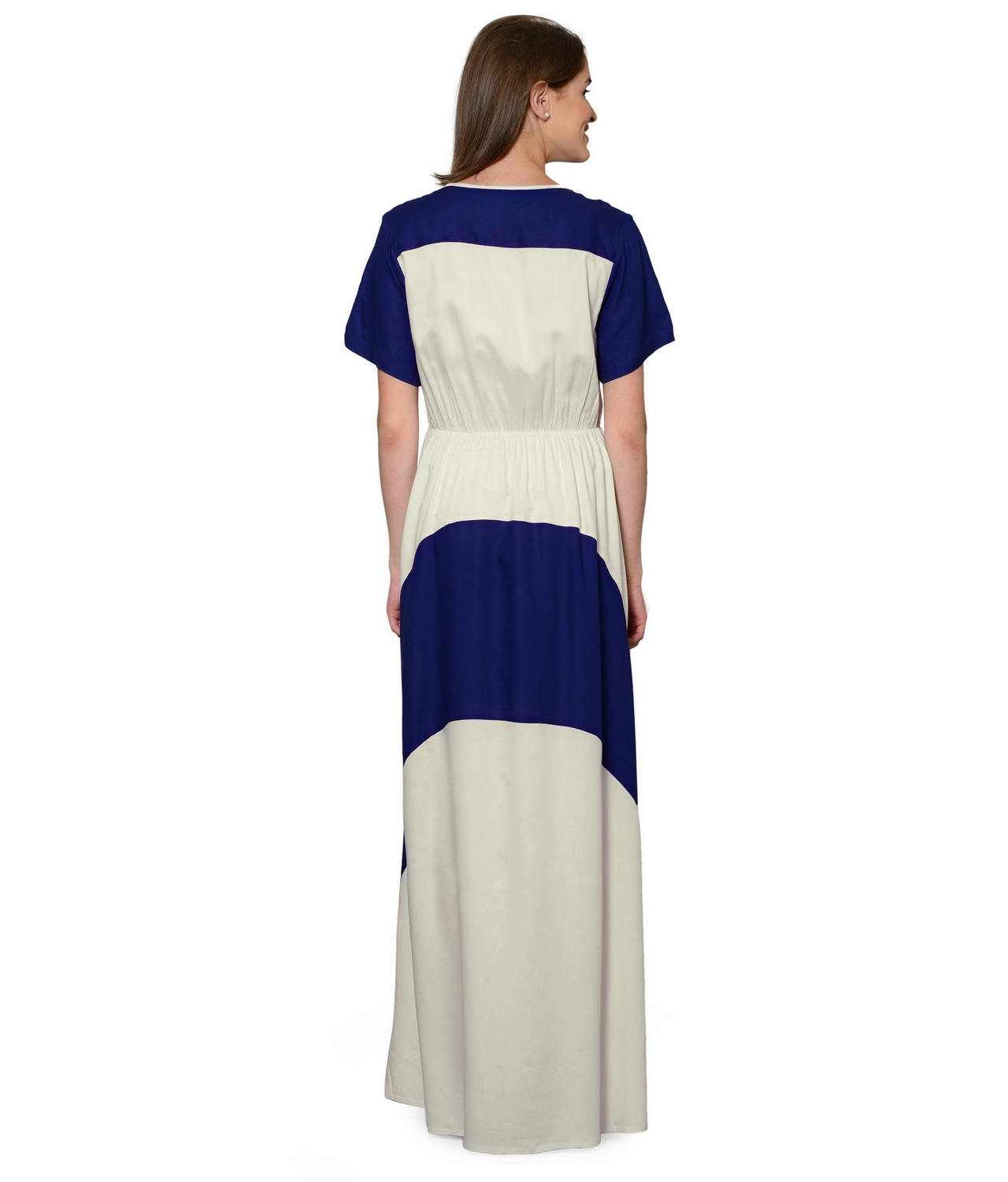 Color Block Slim Fit Maxi Dress Gown in Royal Blue:Off-White