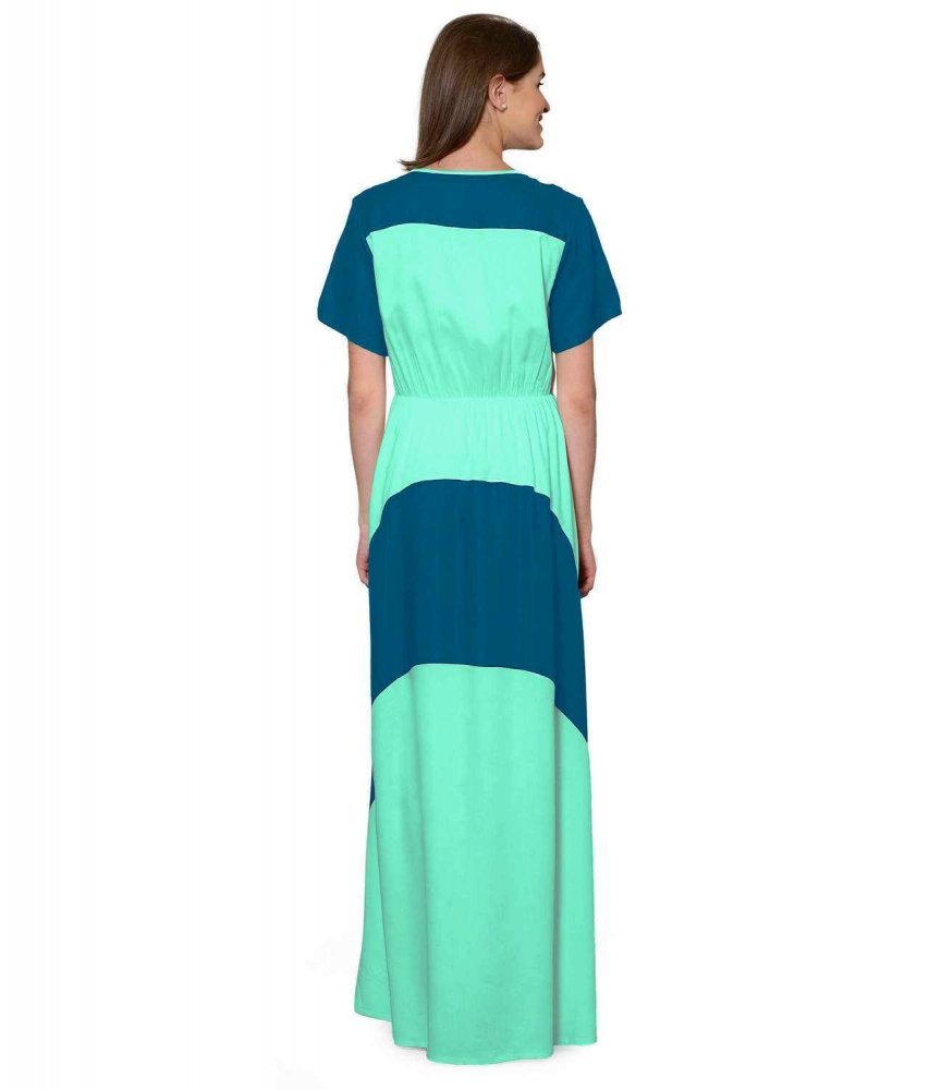 Color Block Slim Fit Maxi Dress Gown in Sky Blue:Teal Green