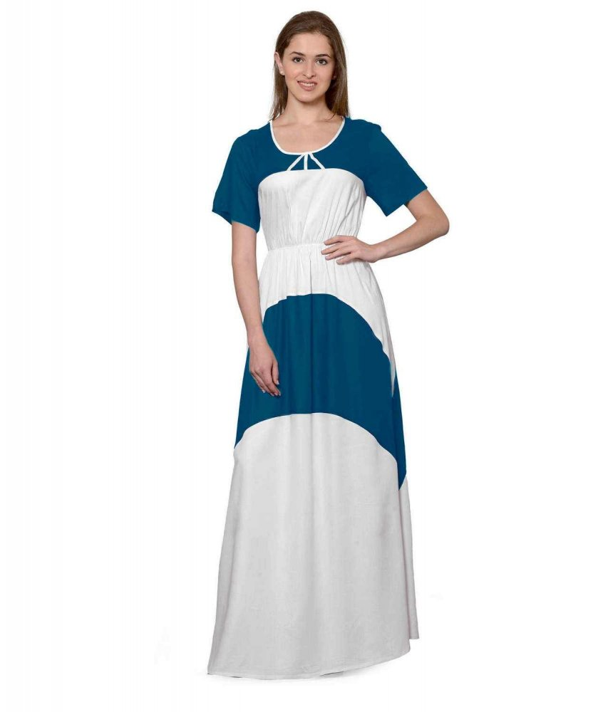 Color Block Slim Fit Maxi Dress Gown in Sky Blue:White