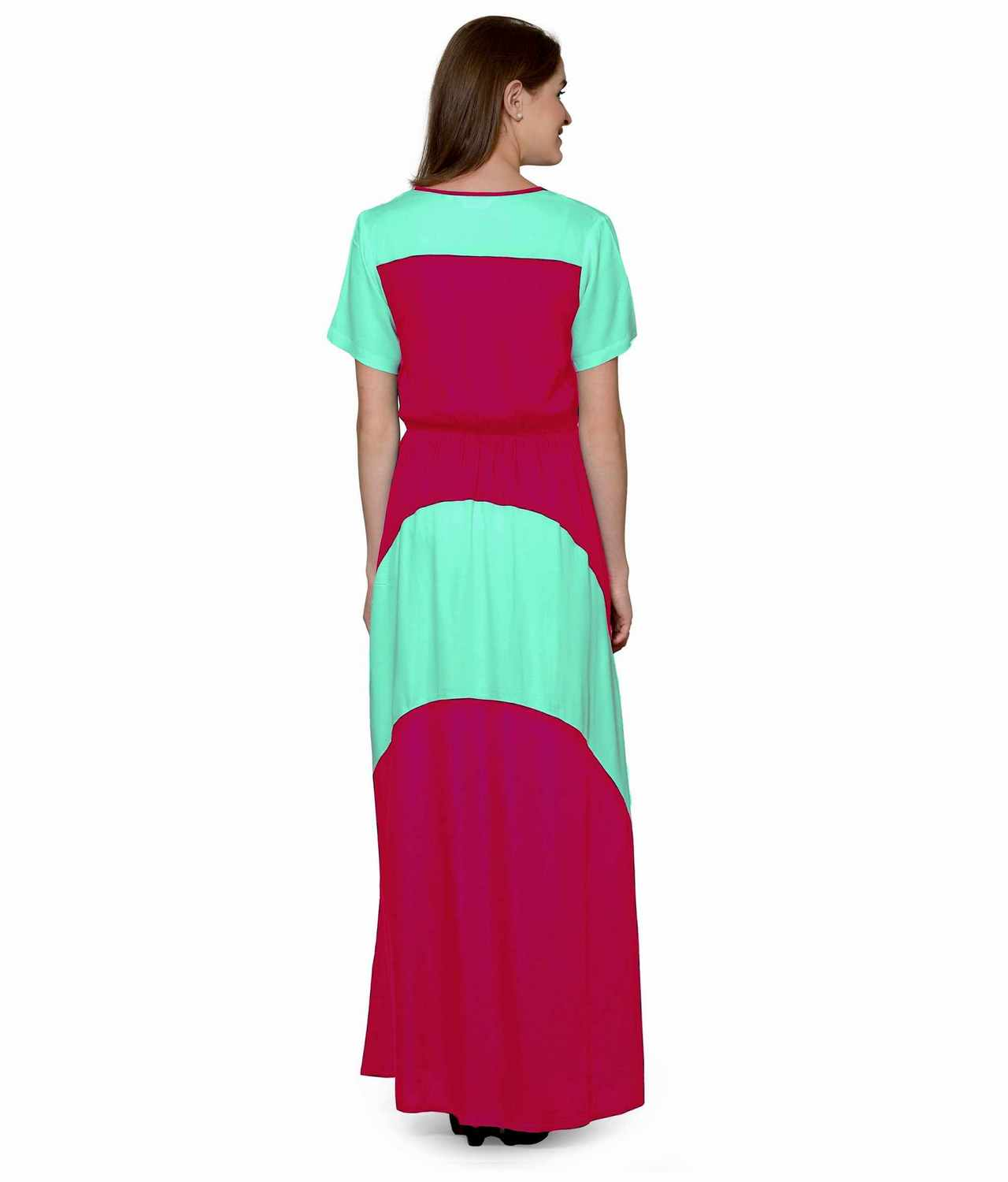Color Block Slim Fit Maxi Dress Gown in Teal Green:Fuchsia