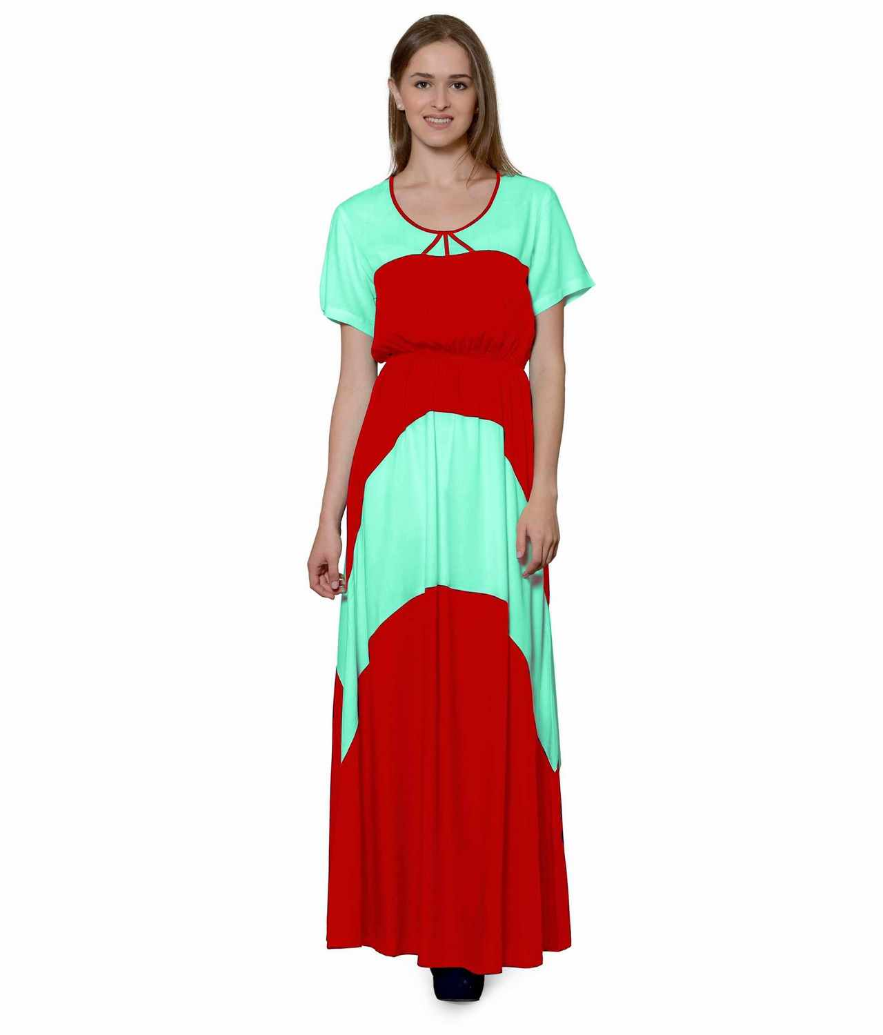 Color Block Slim Fit Maxi Dress Gown in Teal Green:Red