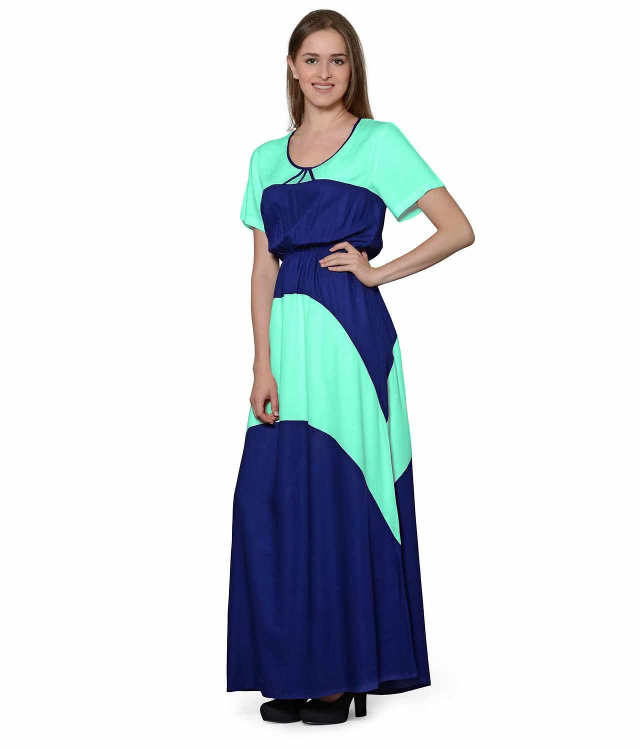 Color Block Slim Fit Maxi Dress Gown in Teal Green:Royal Blue