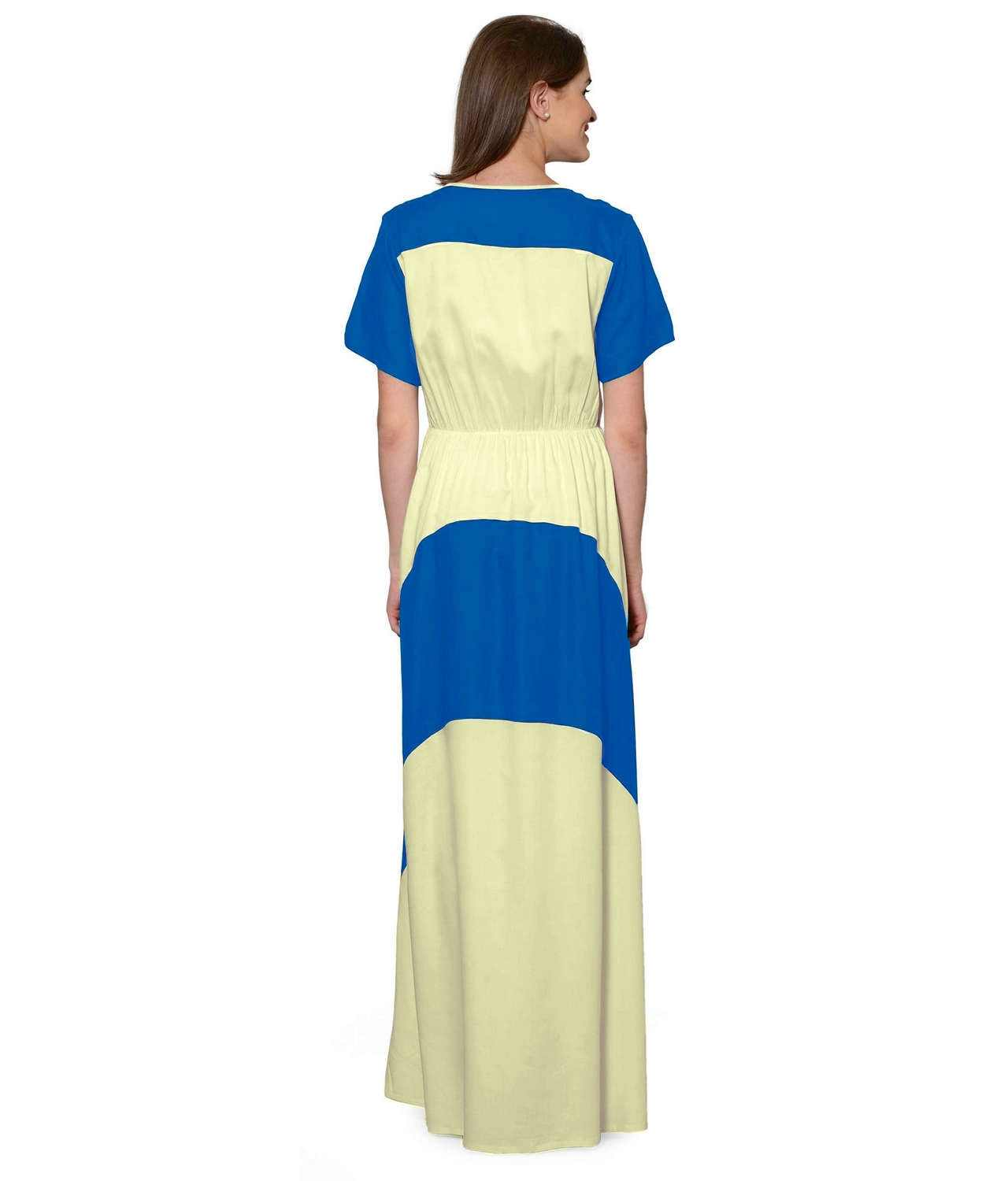 Color Block Slim Fit Maxi Dress Gown in Turquoise:Cream