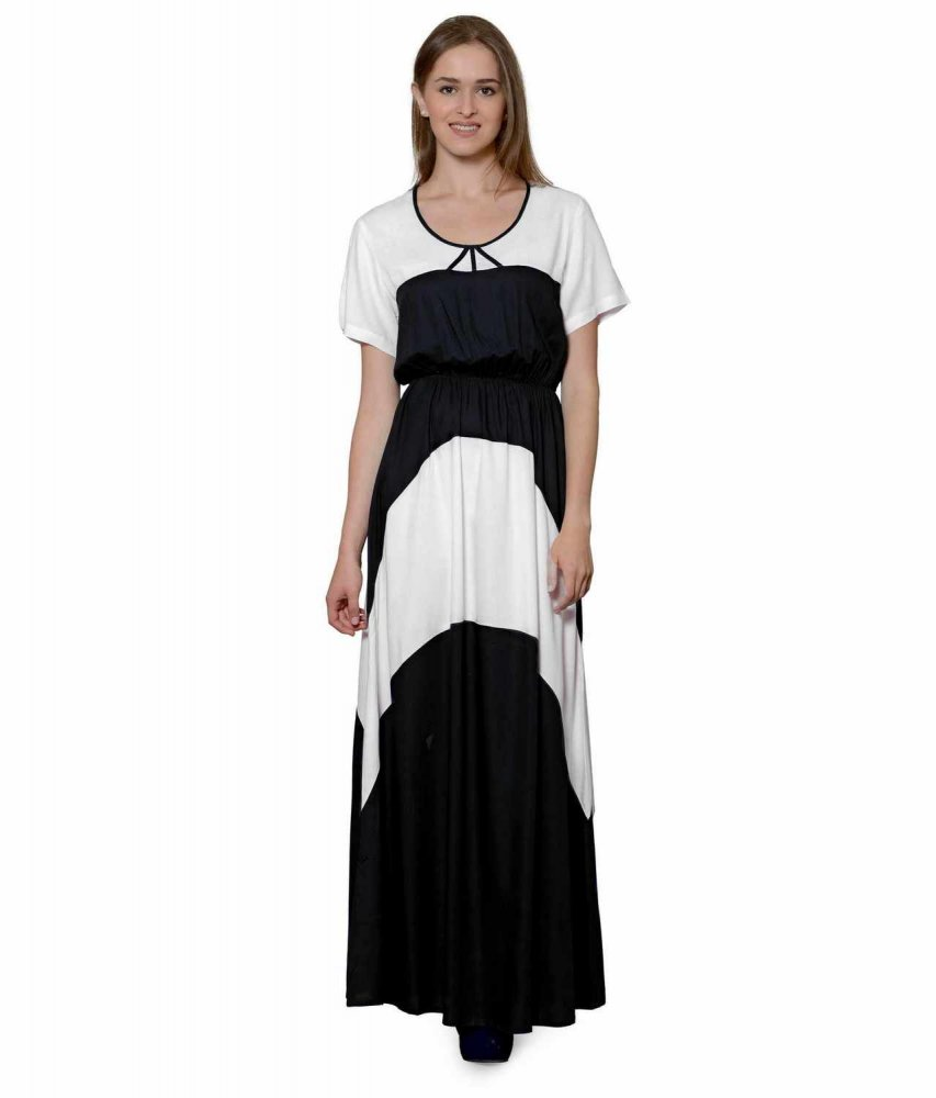 Color Block Slim Fit Maxi Dress Gown in White:Black