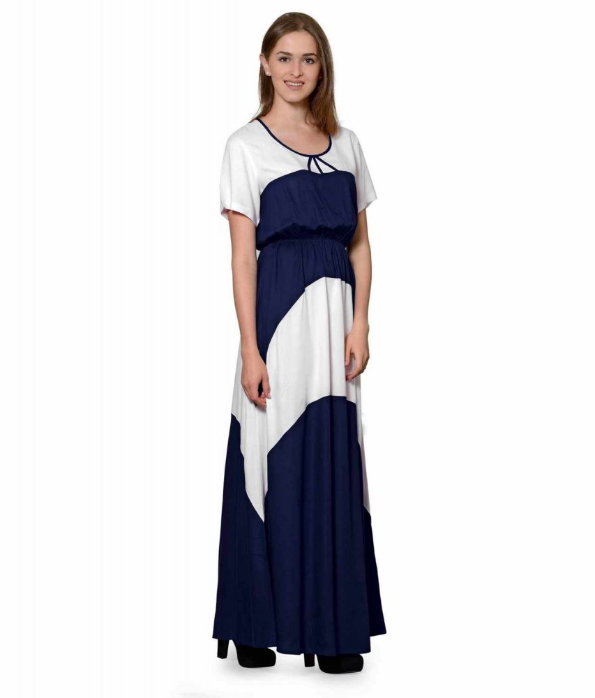 Color Block Slim Fit Maxi Dress Gown in White:Dark Blue