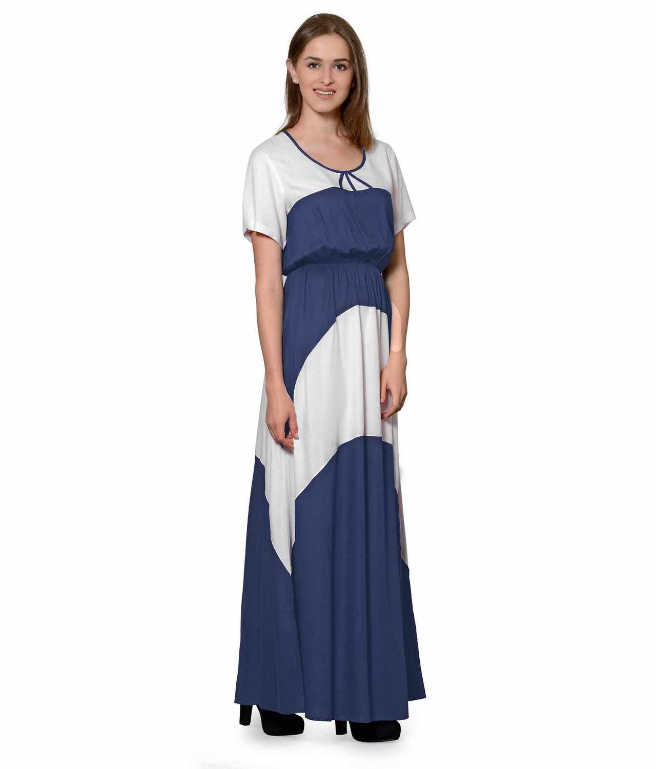 Color Block Slim Fit Maxi Dress Gown in White:Grey