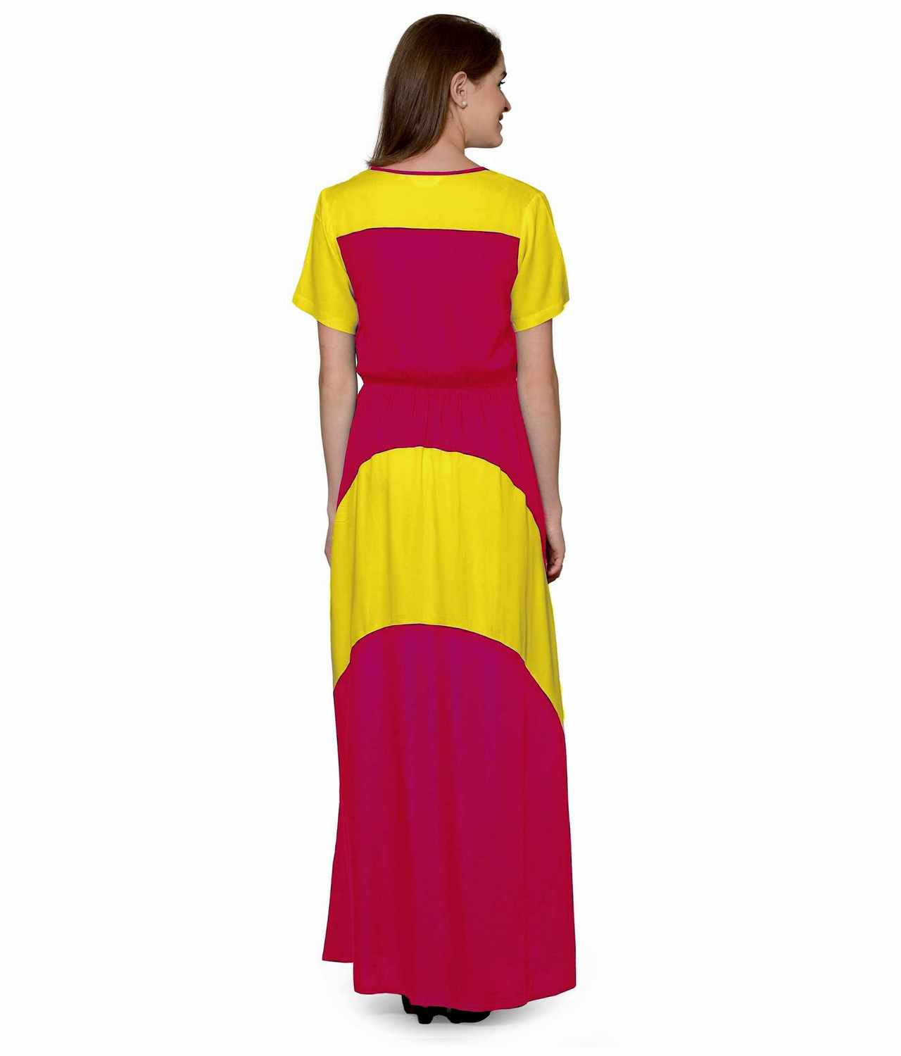 Color Block Slim Fit Maxi Dress Gown in Yellow:Fuchsia