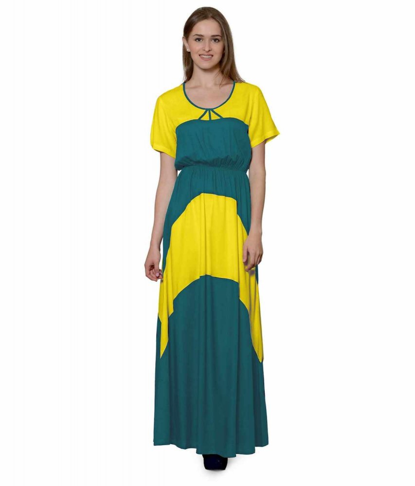 Color Block Slim Fit Maxi Dress Gown in Yellow:Rama Green