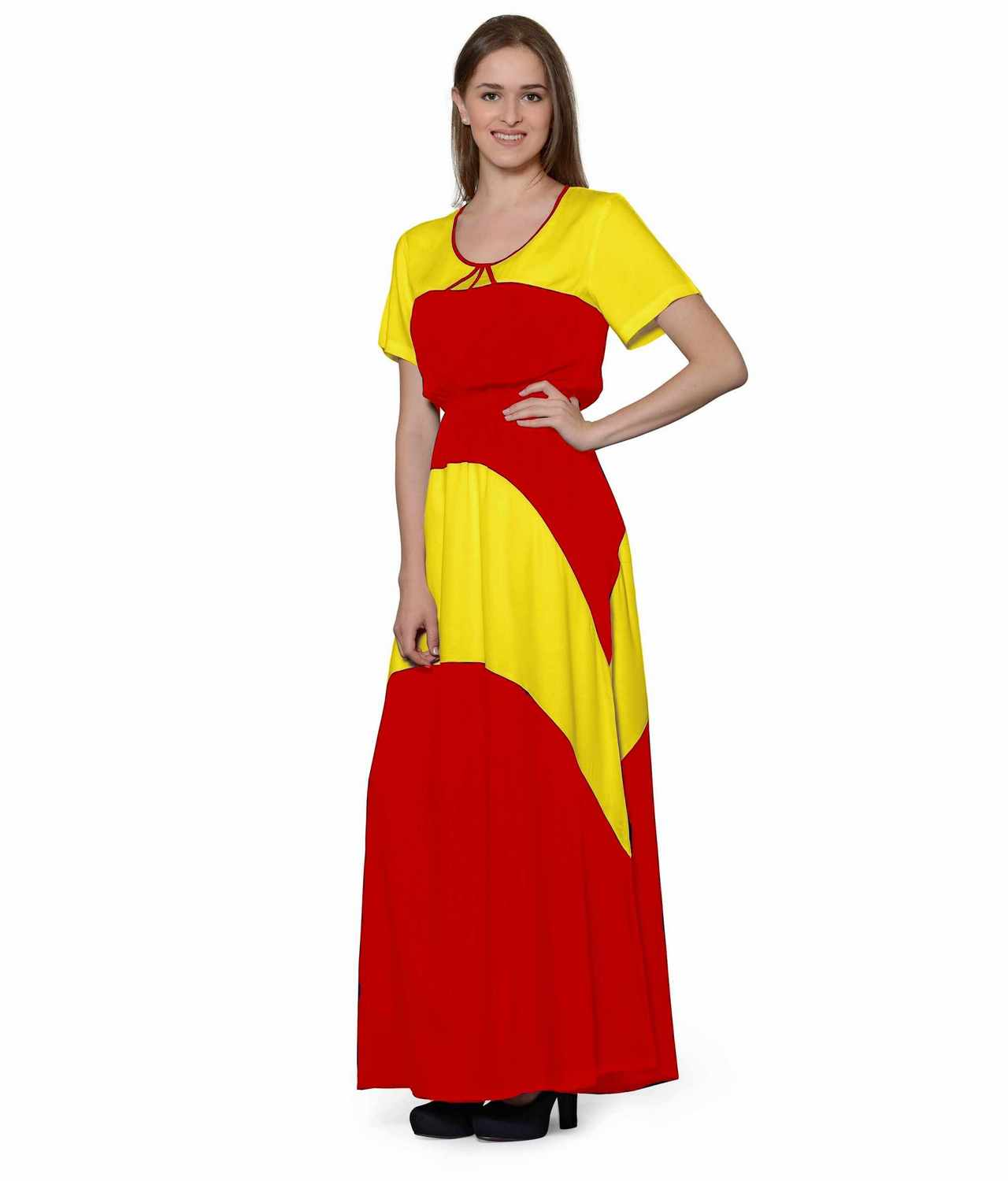 Color Block Slim Fit Maxi Dress Gown in Yellow:Red