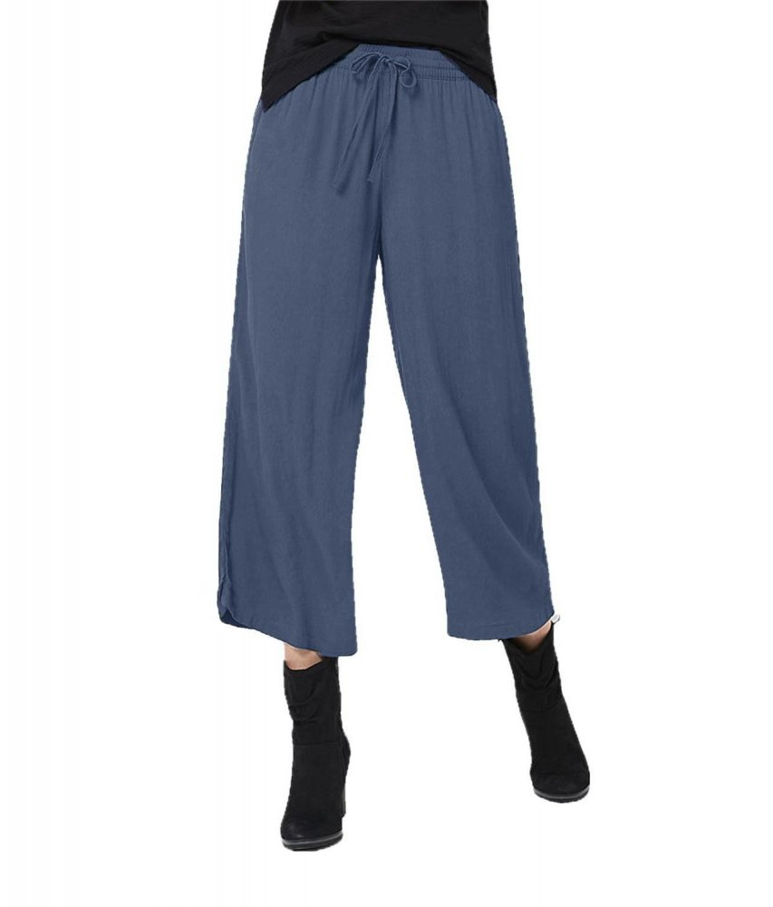 Comfort Fit Palazzo Pant in Charcoal Grey