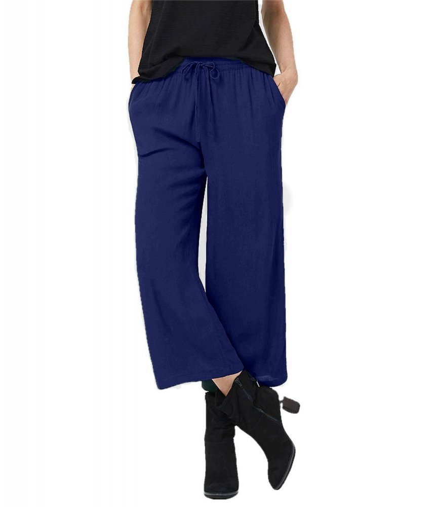 Comfort Fit Palazzo Pant in Royal Blue
