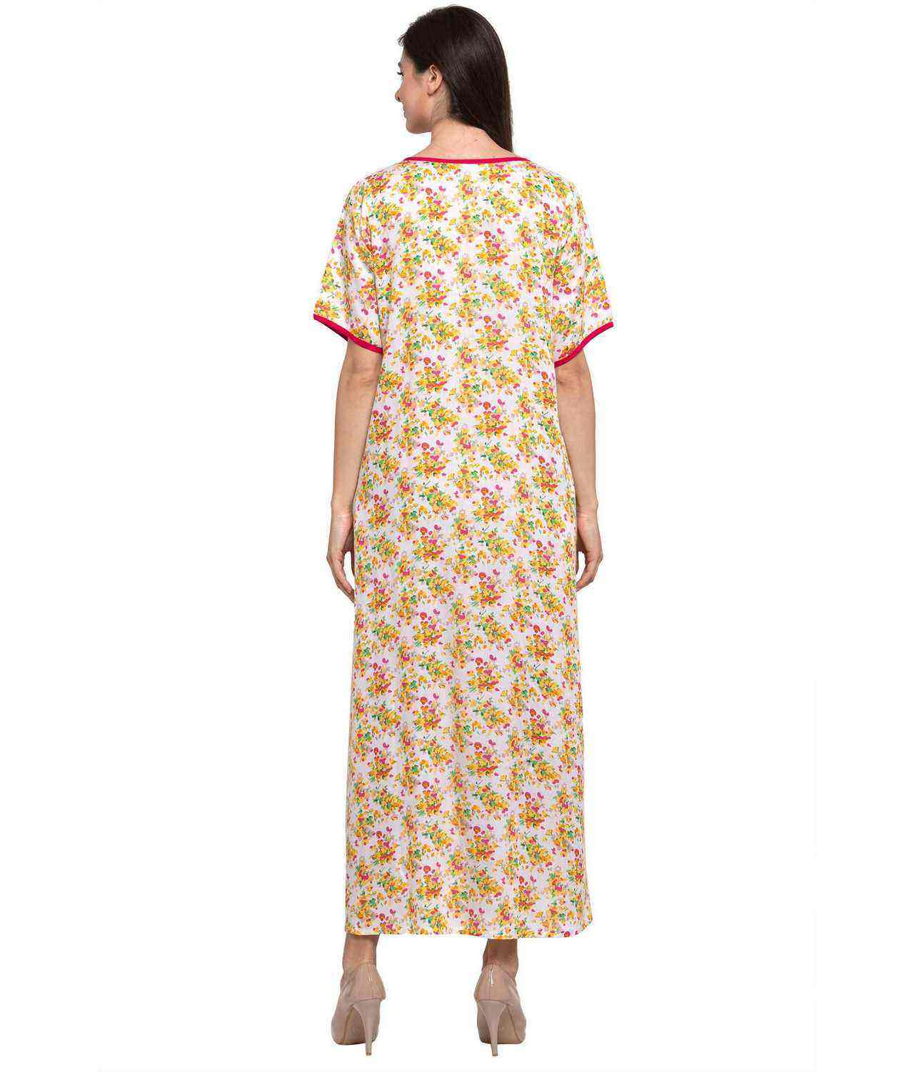 Dart Line Floral Maxi Night-Gown Nighty  in Yellow Print