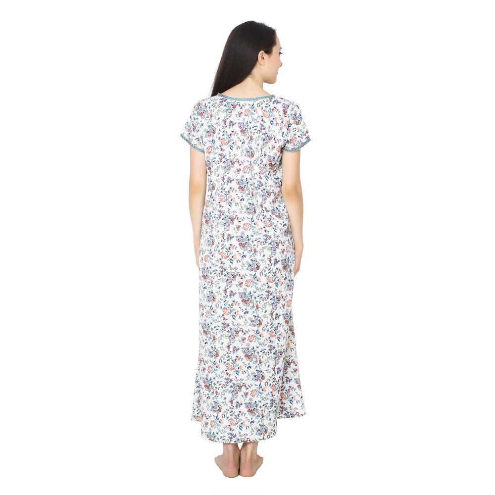 Designer Zipper Neckline Floral Maxi Nighty in White Print