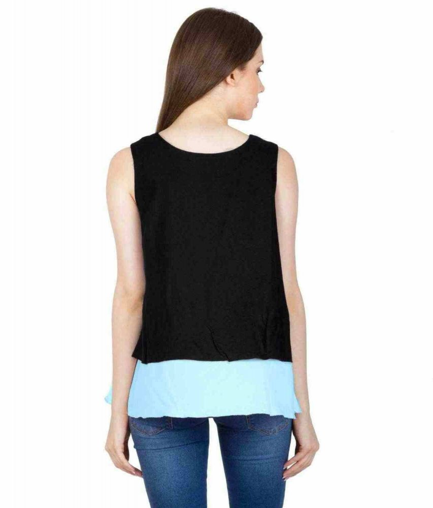 Double Layer Crop Top in Black: Light Blue