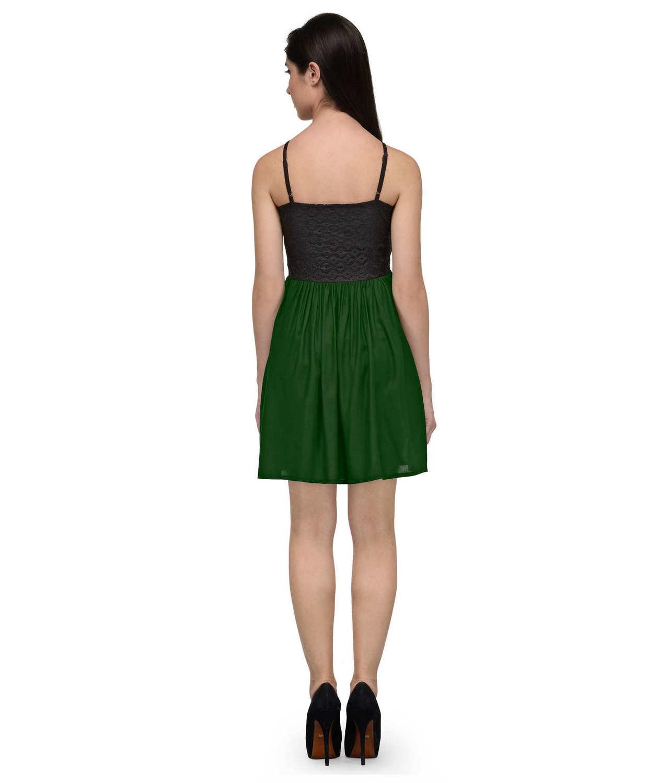 Embellish Lace Work Skater Mini Dress in Black:Bottle Green