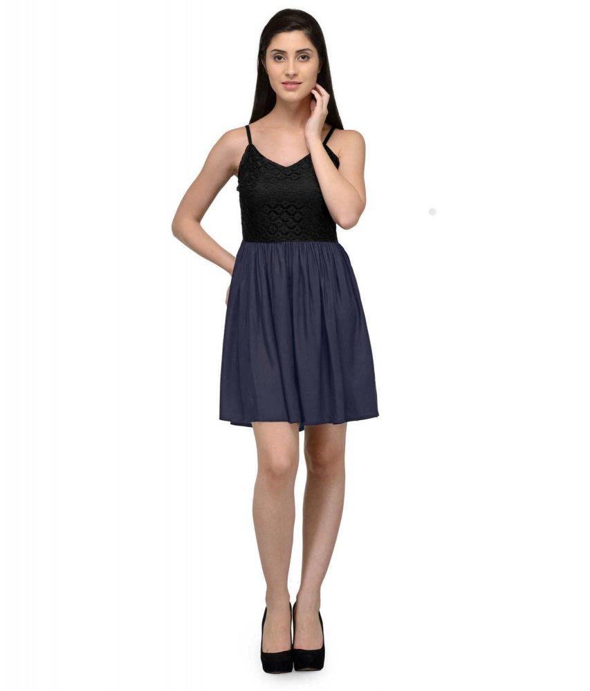 Embellish Lace Work Skater Mini Dress in Black:Dark Blue