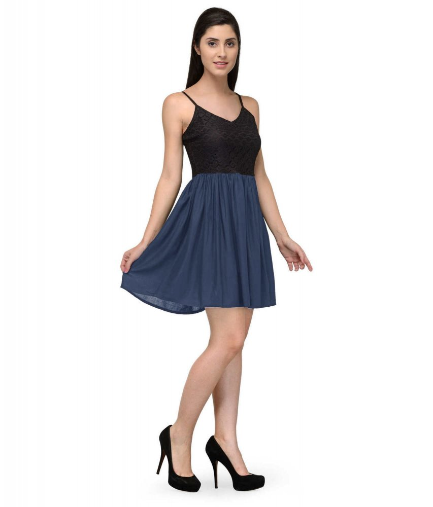 Embellish Lace Work Skater Mini Dress in Black:Grey