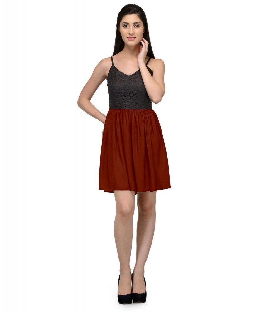 Embellish Lace Work Skater Mini Dress in Black:Maroon
