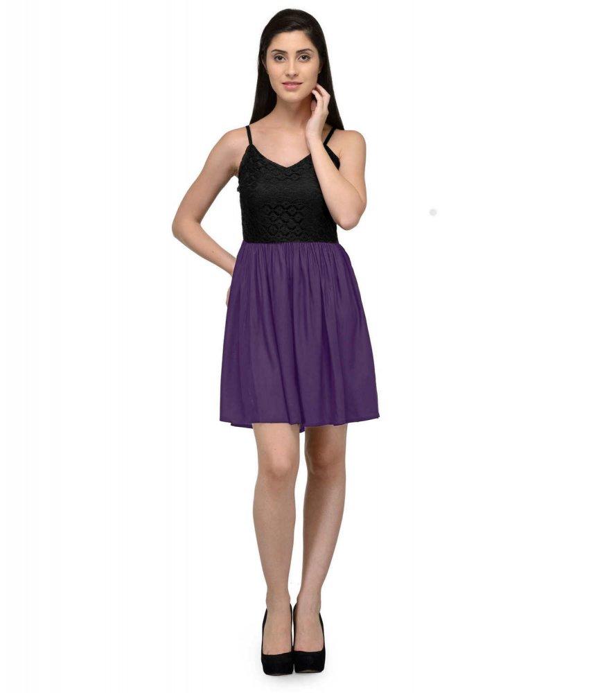 Embellish Lace Work Skater Mini Dress in Black:Purple