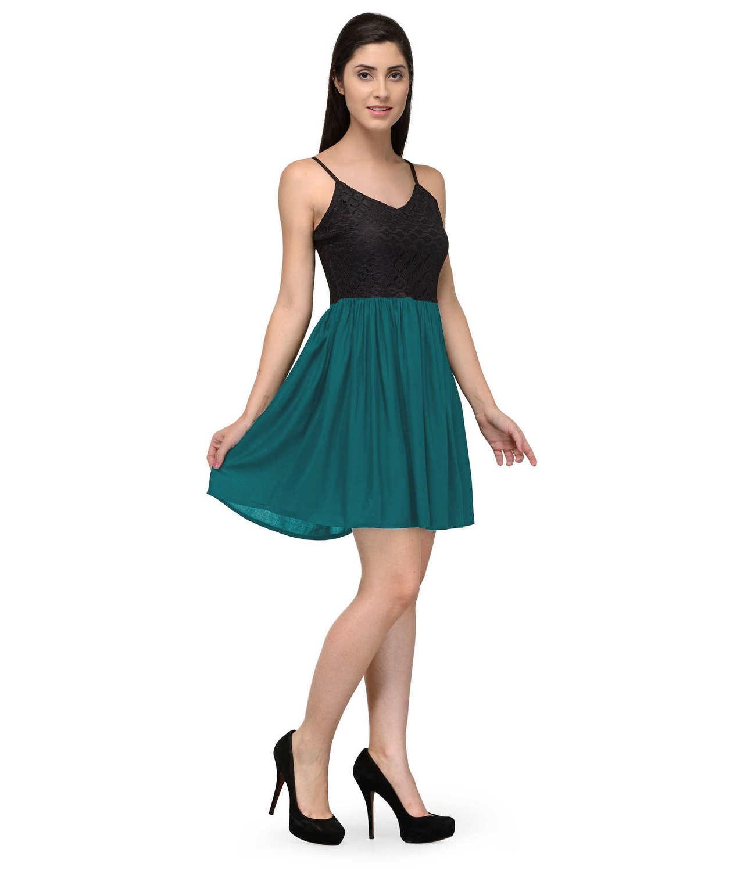 Embellish Lace Work Skater Mini Dress in Black:Rama Green