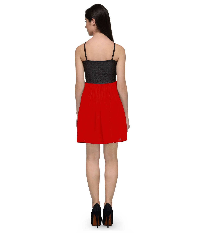 Embellish Lace Work Skater Mini Dress in Black:Red