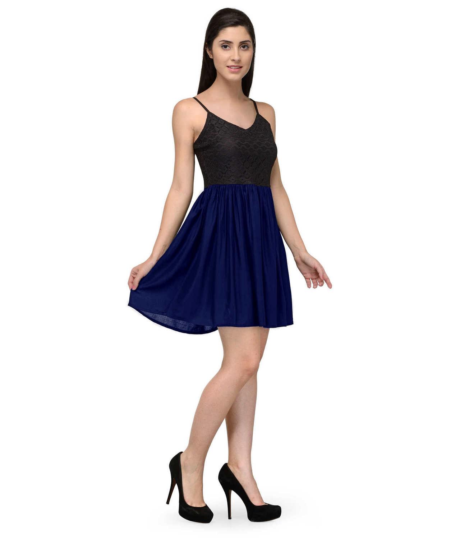 Embellish Lace Work Skater Mini Dress in Black:Royal Blue