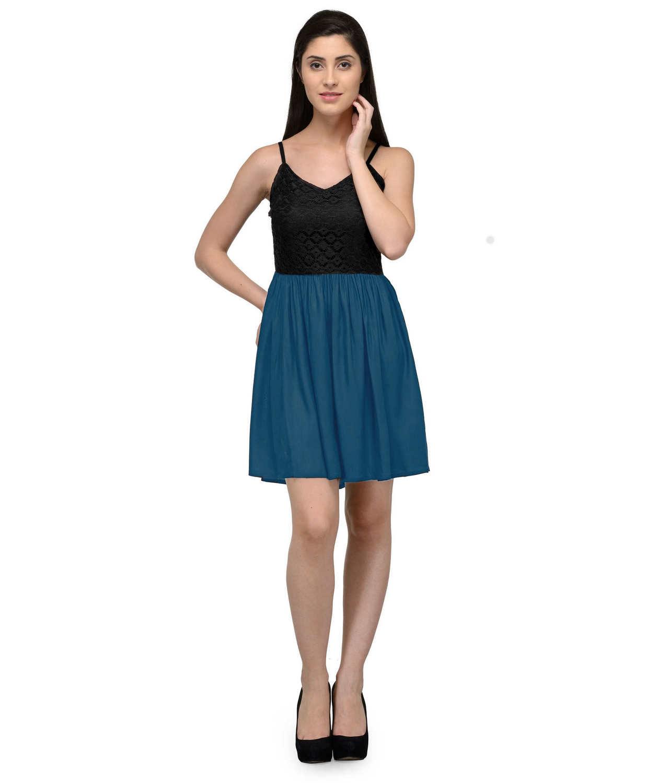 Embellish Lace Work Skater Mini Dress in Black:Sky Blue
