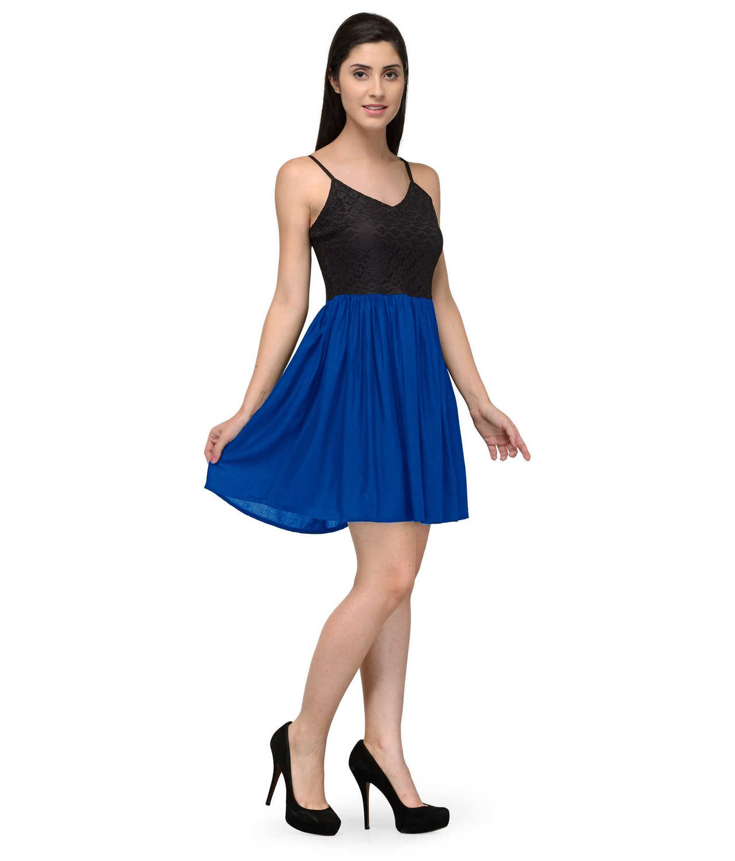 Embellish Lace Work Skater Mini Dress in Black:Turquoise