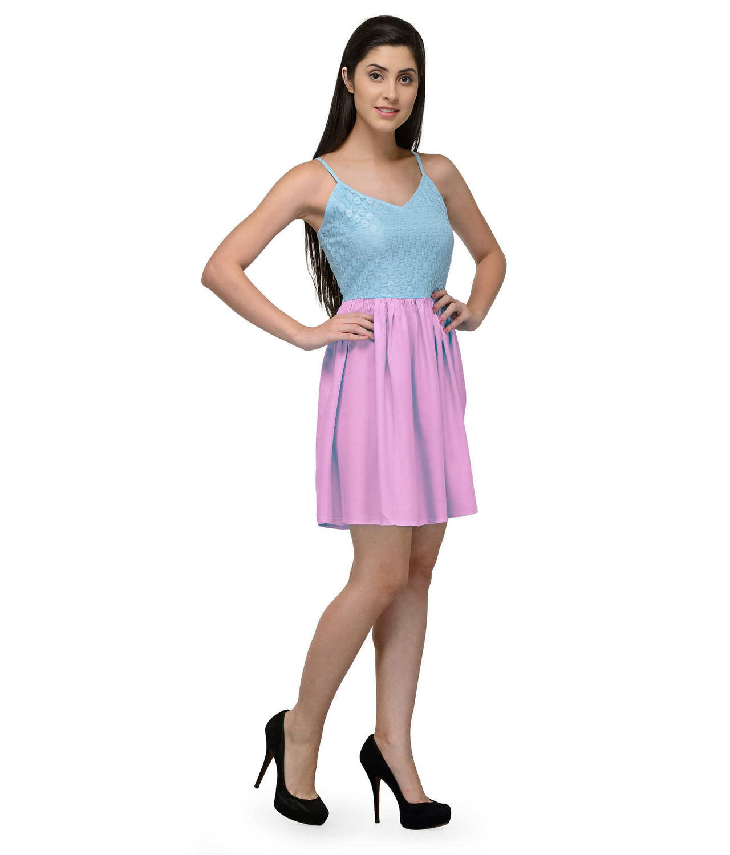 Embellish Lace Work Skater Mini Dress in Light Blue:Baby Pink