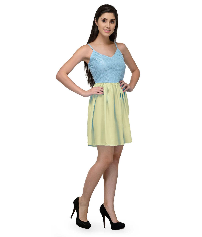 Embellish Lace Work Skater Mini Dress in Light Blue:Cream
