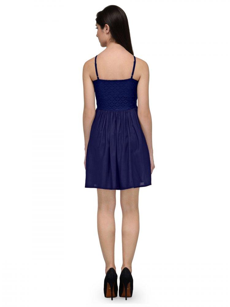Embellish Lace Work Skater Mini Dress in Royal Blue