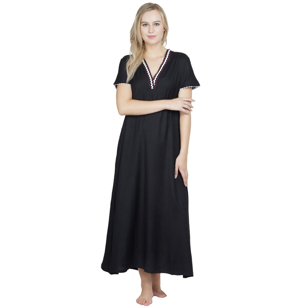 Embellished A-Line Maxi Night-Gown Nighty in Black