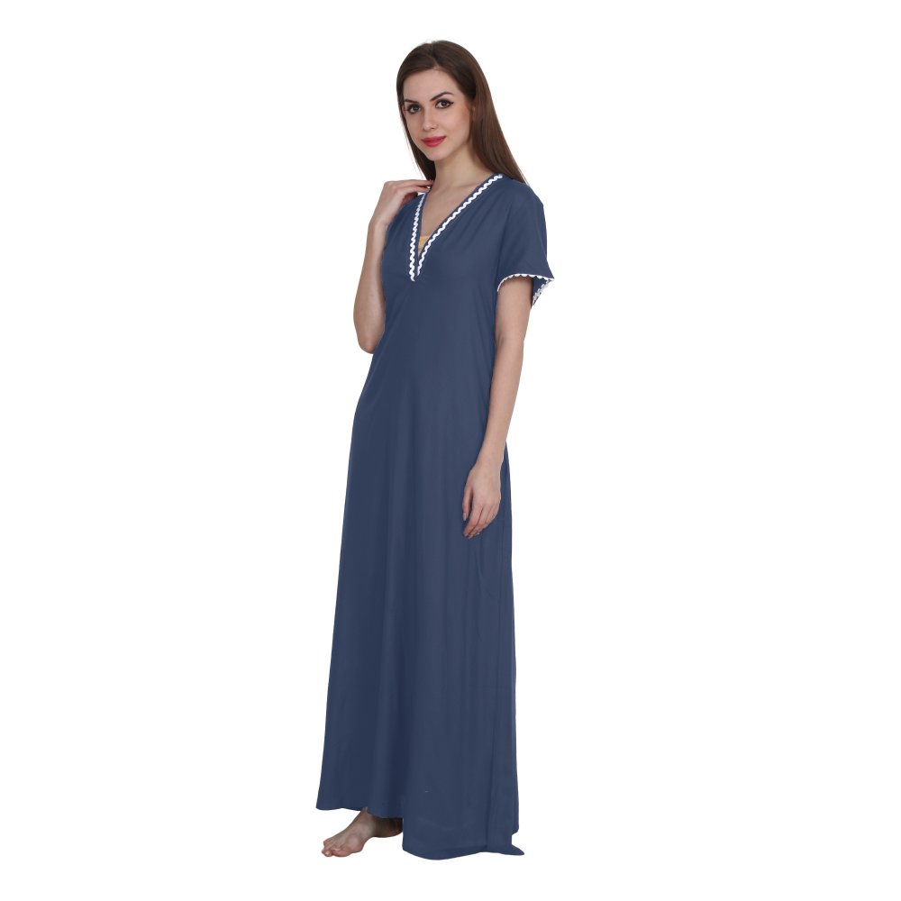 Embellished A-Line Maxi Night-Gown Nighty in Charcoal Grey