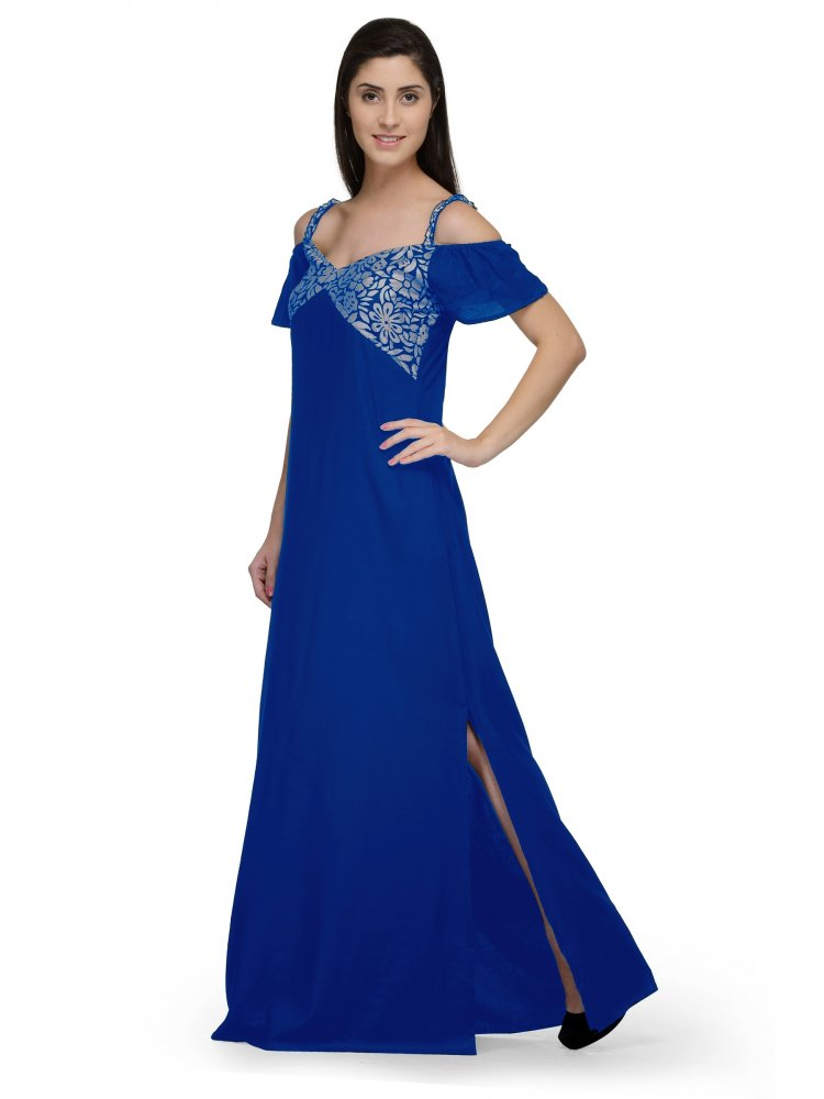 Embellished Bodice Maxi Dress Gown in Grey:Turquoise Blue