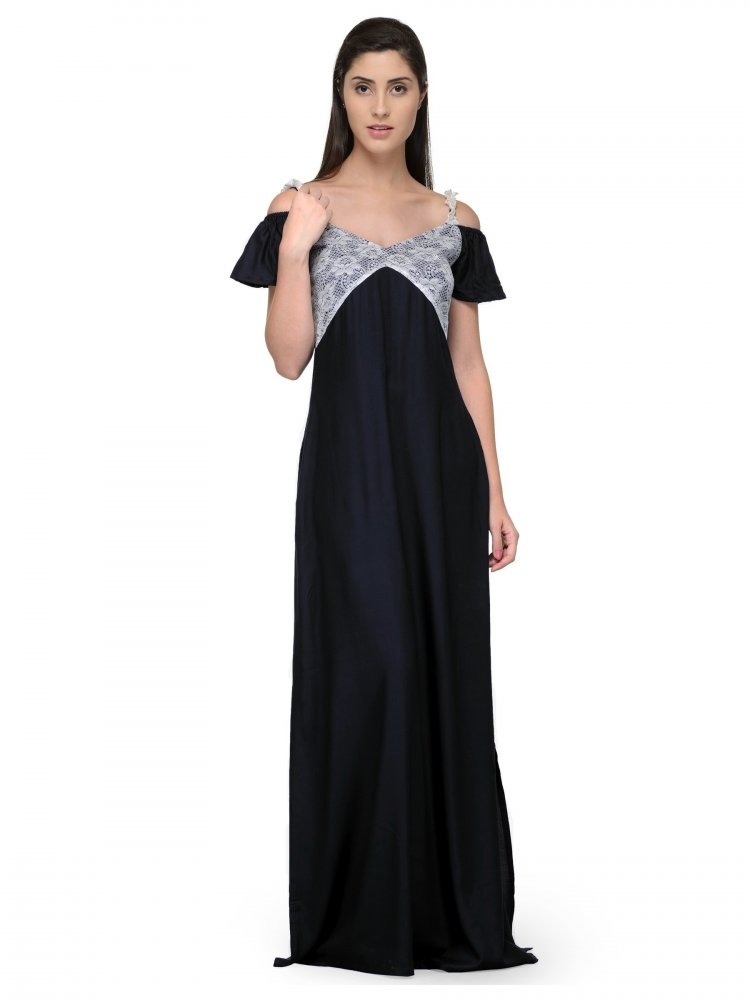 Embellished Bodice Maxi Dress Gown in White:Black