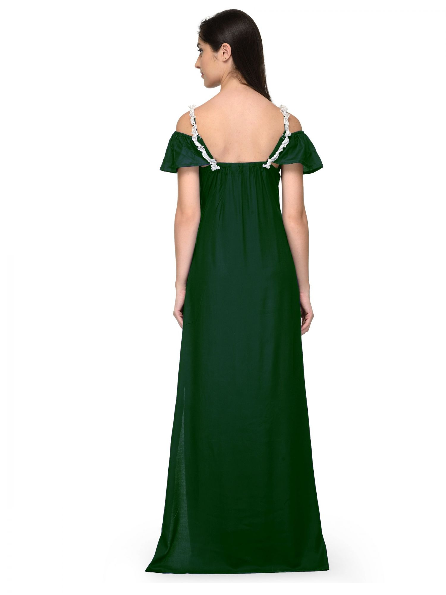 Embellished Bodice Maxi Dress Gown in White:Bottle Green