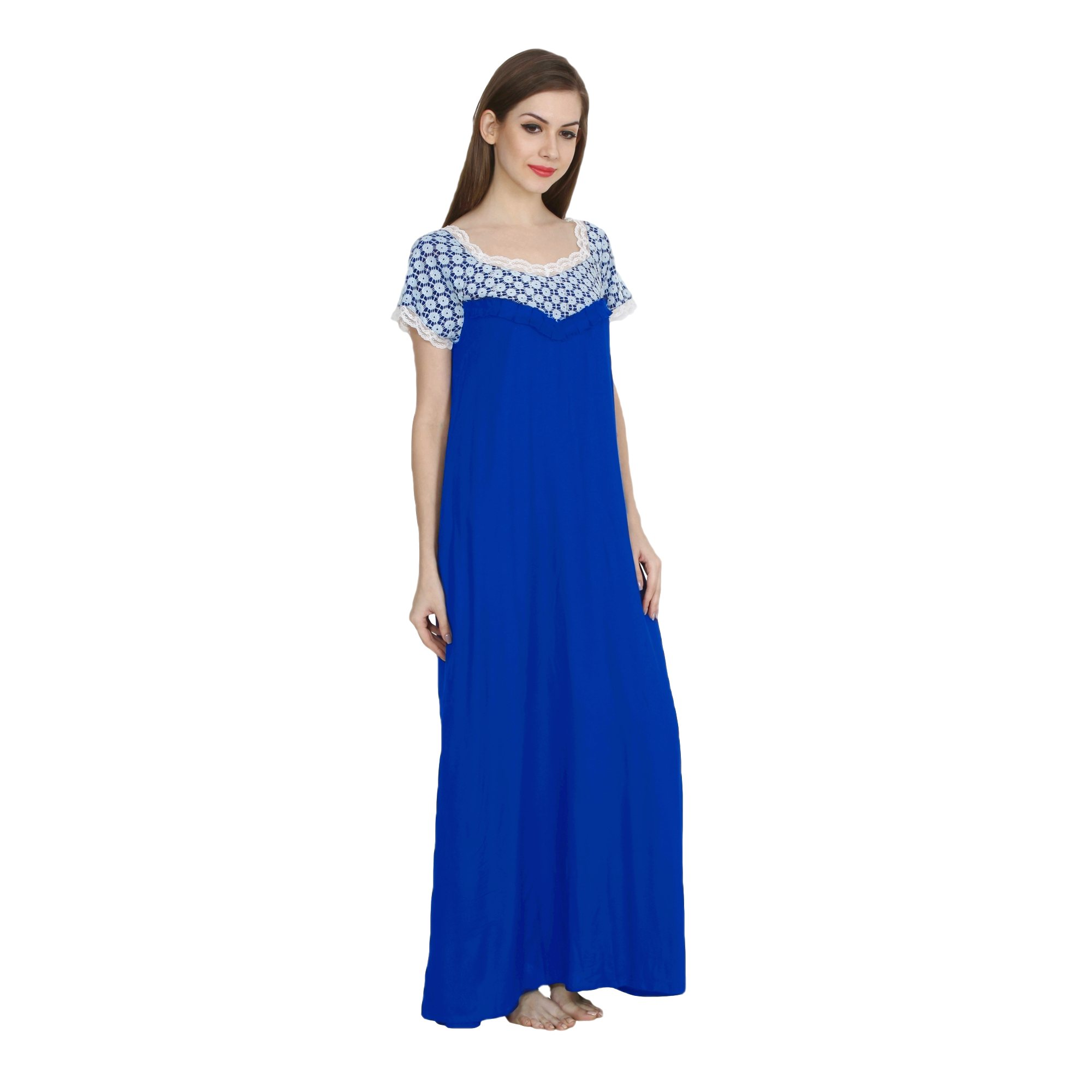 Embellished Bodice Maxi Night-Gown Nighty in Turquoise Blue