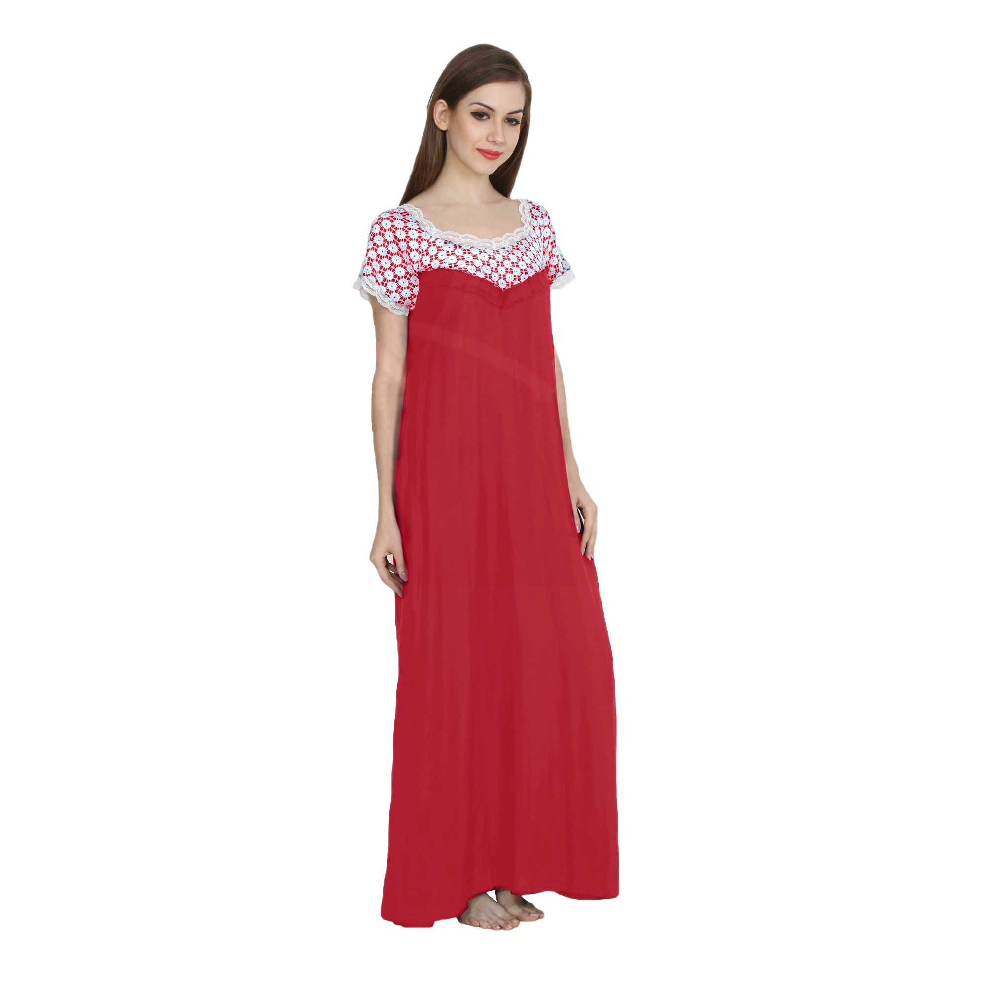 Embellished Bodice Maxi Night-Gown Nighty in Vinyl Hot Pink