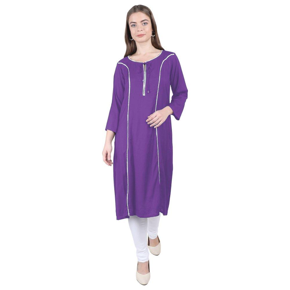 Embellished Empire Kurti in Purple