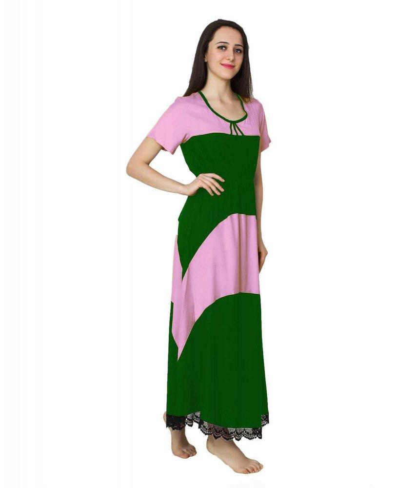 Embellished Hem Color Block Maxi Dress in Baby Pink: Bottle Green